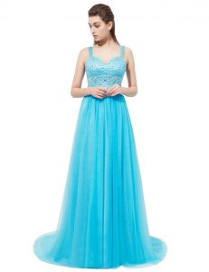 Traditional Aqua Blue Homecoming Gowns Prom and Party with Beading Straps Sleeveless Brush Train Zipper