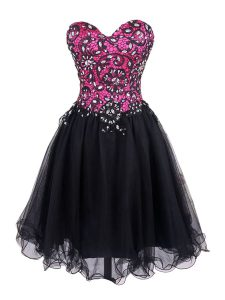 Edgy Sweetheart Sleeveless Zipper Homecoming Gowns Pink And Black Tulle