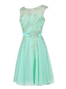 Scoop Chiffon Sleeveless Knee Length Prom Homecoming Dress and Beading and Appliques
