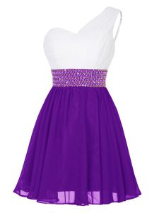 Gorgeous One Shoulder Beading Homecoming Dress White And Purple Zipper Sleeveless Mini Length