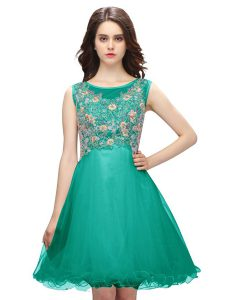 Shining Turquoise A-line Scoop Sleeveless Organza Mini Length Zipper Embroidery Homecoming Party Dress