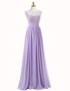 Lavender A-line Scoop Sleeveless Chiffon With Train Sweep Train Zipper Lace Prom Homecoming Dress