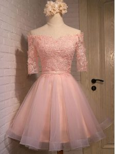 Peach Off The Shoulder Lace Up Appliques Prom Homecoming Dress Short Sleeves