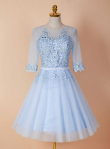 Light Blue Homecoming Gowns Prom with Appliques Scoop Half Sleeves Backless