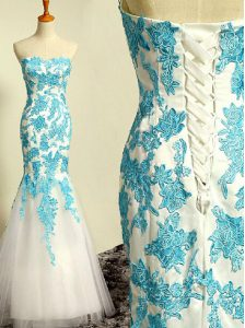Top Selling Floor Length Mermaid Sleeveless Blue and Blue And White Homecoming Gowns Lace Up