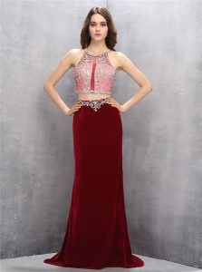 Scoop Sleeveless With Train Beading Criss Cross Homecoming Party Dress with Burgundy Sweep Train