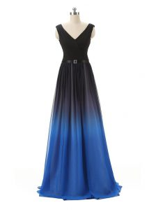 Floor Length Blue And Black Prom Homecoming Dress V-neck Sleeveless Zipper