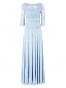 Light Blue Bateau Zipper Lace Homecoming Gowns 3 4 Length Sleeve