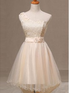 Trendy Champagne A-line Organza One Shoulder Sleeveless Lace and Pleated and Hand Made Flower Knee Length Lace Up Homecoming Party Dress