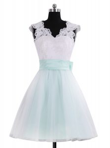 Hot Selling Blue And White Sleeveless Mini Length Lace and Sashes ribbons Zipper Junior Homecoming Dress