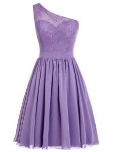 Lavender Side Zipper One Shoulder Appliques Hoco Dress Chiffon Sleeveless