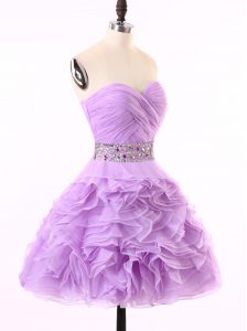 Custom Fit Lavender Sleeveless Beading and Ruching Mini Length Junior Homecoming Dress