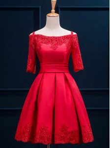 High Class Red A-line Off The Shoulder Half Sleeves Satin Mini Length Lace Up Appliques and Pleated Homecoming Dress Online