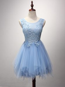 Hot Selling Scoop Sleeveless Tulle Homecoming Gowns Beading and Appliques Zipper