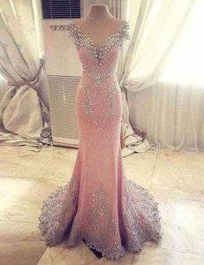 Gorgeous Mermaid Rose Pink Sweetheart Clasp Handle Beading and Appliques Homecoming Gowns Watteau Train Cap Sleeves