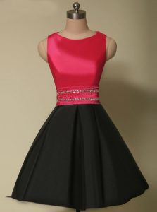 Wonderful Scoop Mini Length Red And Black Homecoming Party Dress Satin Sleeveless Beading