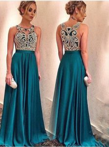 Satin Scoop Sleeveless Zipper Appliques Junior Homecoming Dress in Teal