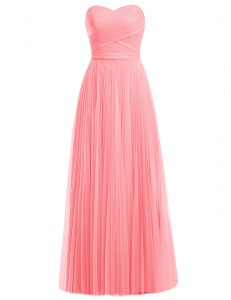 Fashion Floor Length Zipper Junior Homecoming Dress Watermelon Red and Rose Pink for Prom and Party with Ruffles