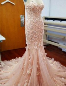 Noble Baby Pink Mermaid Appliques Homecoming Dress Zipper Tulle Sleeveless With Train