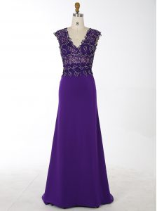 High Quality Mermaid Chiffon V-neck Sleeveless Brush Train Zipper Beading Homecoming Dress in Purple