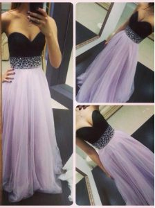 Fabulous Lavender A-line Tulle Sweetheart Sleeveless Beading Floor Length Zipper Homecoming Party Dress