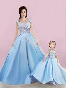 Sumptuous Baby Blue Lace Up Appliques Hoco Dress Satin Sleeveless