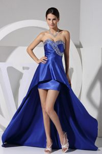 Beading Royal Blue Designer Homecoming Dresses Sweetheart High-low