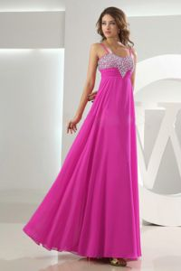 Fuchsia Beading Straps Chiffon Zipper-up Homecoming Party Dresses