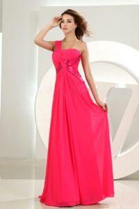 One Shoulder Hot Pink Chiffon Homecoming Dresses in Granby Quebec