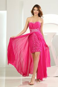 Chiffon Sweetheart Beading Slit Hot Pink Homecoming Dance Dresses