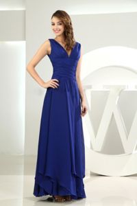 Royal Blue V-neck Chiffon Drummondville Quebec Homecoming Gowns