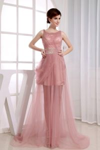 Scoop Neck Beading Court Train Pink Tulle Homecoming Queen Gowns