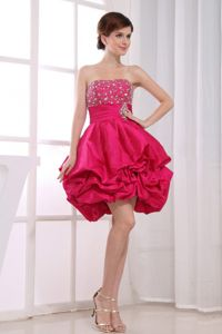 Puffy Strapless Beading Hot Pink North Bay Ontario Homecoming Dress