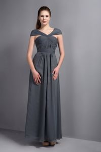 Cap Sleeves V-neck Grey Ankle-length Homecoming Dresses for Juniors