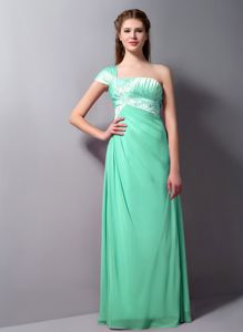 Autumn One Shoulder Beading Ruched Apple Green Homecoming Dress