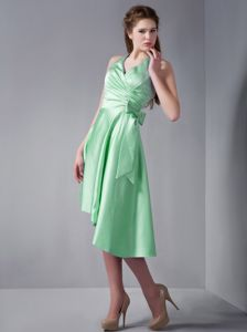 Bowknot Halter Backless Ruched Apple Green Homecoming Party Dress