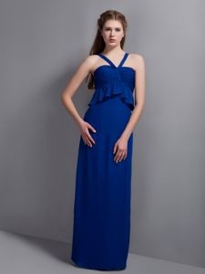 Chiffon V-neck Ruffled Peacock Blue Zipper-up Homecoming Dresses