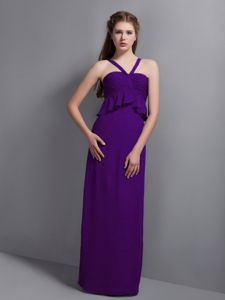 Wood Buffalo Alberta V-neck Purple Long Homecoming Princess Dress
