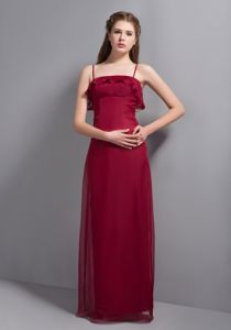 Discount Straps Ruffled Wine Red Zipper-up Back Homecoming Gowns