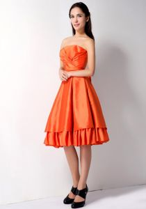 Orange Strapless Ruched Layers Taffeta Celebrity Homecoming Gowns