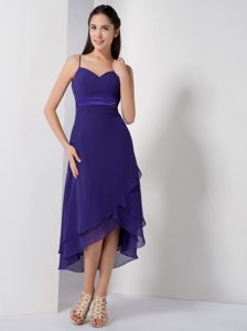 Zipper-up Straps Purple Chiffon High-low Homecoming Dress for Prom