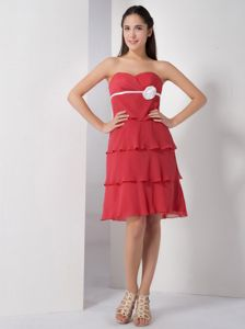 Flowers Layers Chiffon Sweetheart Coral Red Dresses for Homecoming