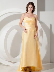 Ruched Sweetheart Light Yellow Homecoming Dresses in Sarnia Ontario