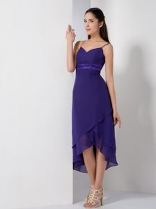 Straps Purple High-low Homecoming Dresses with Asymmetrical Hem