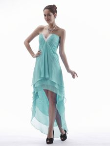 Layers V-neck Aqua Blue Chiffon Brossard Quebec Homecoming Gown