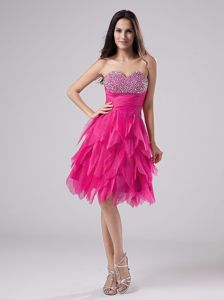 Hot Pink Sweetheart Beading Ruffled Homecoming Dresses for Juniors