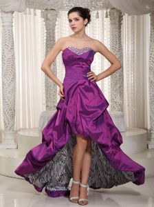 Inexpensive Fuchsia Zebra Homecoming Dress with Beaded Sweetheart