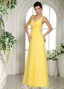 Terrebonne Quebec Straps Beading Yellow Vintage Homecoming Dress