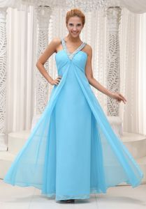 V-neck Beading Ruched Aqua Blue Long Junior Homecoming Dresses