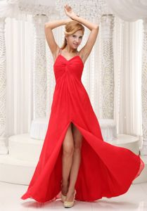 High Slit Straps Beading Red Homecoming Party Dresses in Ajax Ontario